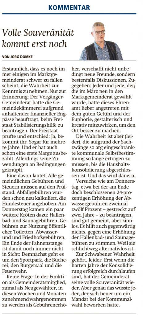 EZ 17.10.2020 Kommentar Jörg Domke - Volle Souveränität kommt erst noch